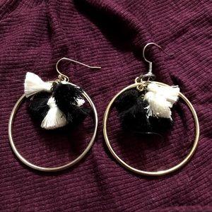 black, white, and gold tassel dangle earrings